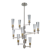 Feiss Celebration 10 Light Chandelier in Brushed Nickel and Natural Brass F2816/10BN/NB