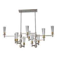 Celebration 10 Light 46 inch Brushed Nickel and Natural Brass Billiard Light Ceiling Light
