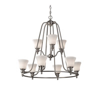 Feiss Cumberland 9 Light Chandelier in Brushed Steel F2822/3+6BS