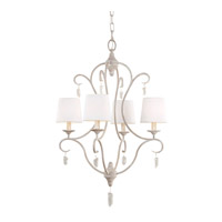 Caprice 4 Light 22 inch Chalk Washed Chandelier Ceiling Light