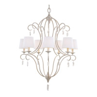 Feiss F2933/7CHKW Caprice 7 Light 29 inch Chalk Washed Chandelier Ceiling Light