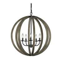 Feiss F2936/5WOW/AF Allier 5 Light 26 inch Weather Oak Wood and Antique Forged Iron Chandelier Large Pendant Ceiling Light