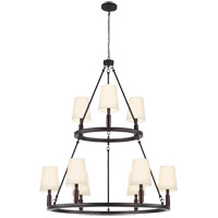 Feiss F2937/3+6ORB Lismore 9 Light 37 inch Oil Rubbed Bronze Chandelier Ceiling Light in Ivory Fabric