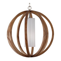 Feiss Allier 1 Light Large Pendant in Light Wood / Brushed Steel F2952/1LW/BS-F