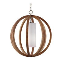 Feiss Allier 1 Light Pendant in Light Wood / Brushed Steel F2953/1LW/BS-F