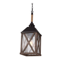 Feiss Lumiere 1 Light Pendant Chandelier in Dark Weathered Oak and Oil Rubbed Bronze F2956/1DWO/ORB