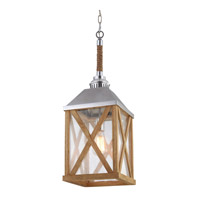 Feiss Lumiere 1 Light Chandelier in Natural Oak and Brushed Aluminum F2956/1NO