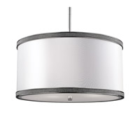 Pave 3 Light 20 inch Polished Nickel Drum Pendant Ceiling Light in Standard