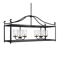 Feiss F2971/6AF Declaration 6 Light 41 inch Antique Forged Iron Island Chandelier Ceiling Light in Standard