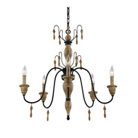 Feiss Matrimonio 5 Light Chandelier in Driftwood / Dark Weathered Zinc F2973/5DFW/DWZ