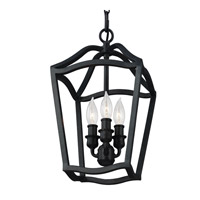 Yarmouth 3 Light 9 inch Antique Forged Iron Foyer Pendant Ceiling Light