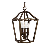 Yarmouth 3 Light 9 inch Painted Aged Brass Foyer Pendant Ceiling Light