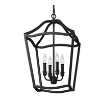 Yarmouth 4 Light 15 inch Antique Forged Iron Foyer Pendant Ceiling Light