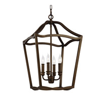 Feiss F2975/4PAGB Yarmouth 4 Light 15 inch Painted Aged Brass Foyer Pendant Ceiling Light