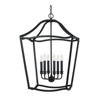 Yarmouth 6 Light 20 inch Antique Forged Iron Foyer Pendant Ceiling Light