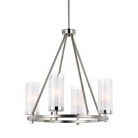 Feiss Jonah 4 Light Chandelier in Satin Nickel and Chrome with White Opal Etched and Clear Crackle Glass F2984/4SN/CH