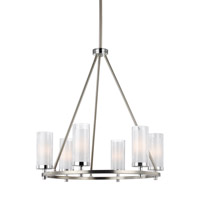 Feiss Jonah 6 Light Chandelier in Satin Nickel and Chrome with White Opal Etched and Clear Crackle Glass F2985/6SN/CH