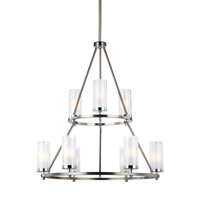 Feiss Jonah 9 Light Chandelier in Satin Nickel and Chrome with White Opal Etched and Clear Crackle Glass F2987/9SN/CH
