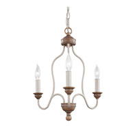 Feiss Hartsville 3 Light Chandelier in Chalk Washed / Beachwood F2997/3CHKW/BW