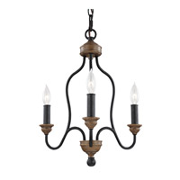 Feiss Hartsville 3 Light Chandelier in Dark Weathered Zinc / Weathered Oak F2997/3DWZ/WO