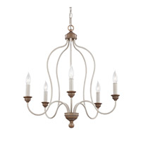 Feiss Hartsville 5 Light Chandelier in Chalk Washed / Beachwood F2998/5CHKW/BW