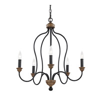 Feiss Hartsville 5 Light Chandelier in Dark Weathered Zinc / Weathered Oak F2998/5DWZ/WO
