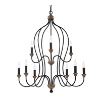 Feiss Hartsville 9 Light Chandelier in Dark Weathered Zinc / Weathered Oak F2999/9DWZ/WO