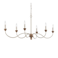 Feiss Hartsville 6 Light Chandelier in Chalk Washed / Beachwood F3000/6CHKW/BW