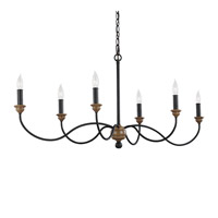 Feiss Hartsville 6 Light Chandelier in Dark Weathered Zinc / Weathered Oak F3000/6DWZ/WO