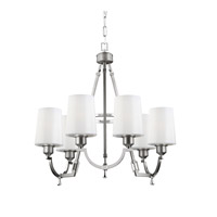 Feiss Preakness 6 Light Chandelier in Satin Nickel / Polished Nickel F3008/6SN/PN