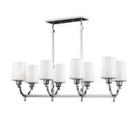 Feiss Preakness 8 Light Island Chandelier in Satin Nickel / Polished Nickel F3010/8SN/PN