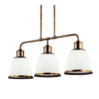 Feiss Hobson 3 Light Island Chandelier in Aged Brass F3017/3AGB-F