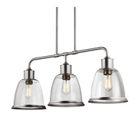 Hobson 3 Light 36 inch Satin Nickel Island Chandelier Ceiling Light in Standard