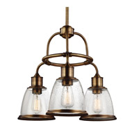 Feiss F3020/3AGB Hobson 3 Light 22 inch Aged Brass Chandelier Ceiling Light in Standard
