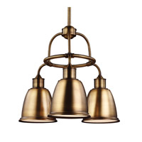 Feiss Hobson 3 Light Chandelier in Aged Brass F3022/3AGB-F