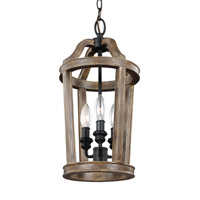 Lorenz 3 Light 9 inch Weathered Oak Wood Pendant Ceiling Light