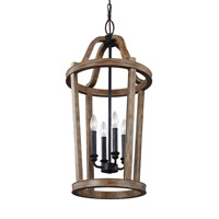 Feiss Lorenz 4 Light Pendant in Weathered Oak Wood F3031/4WOW