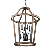 Lorenz 8 Light 24 inch Weathered Oak Wood Chandelier Ceiling Light