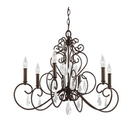 Angelette 6 Light 29 inch Bonnieaux Bronze Chandelier Ceiling Light
