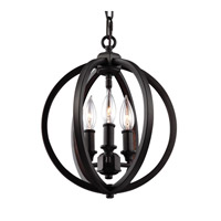 Corinne 3 Light 11 inch Oil Rubbed Bronze Globe Pendant Ceiling Light