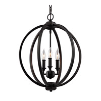 Corinne 3 Light 17 inch Oil Rubbed Bronze Globe Pendant Ceiling Light