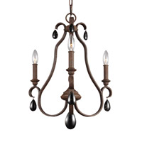 DeWitt 3 Light 18 inch Weathered Iron Chandelier Ceiling Light