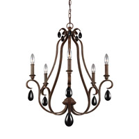 DeWitt 5 Light 25 inch Weathered Iron Chandelier Ceiling Light