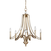 Feiss F3075/6SG Evington 6 Light 24 inch Sunset Gold Chandelier Ceiling Light