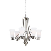 Feiss Evington 6 Light Chandelier in Satin Nickel with White Opal Etched Glass F3075/6SN