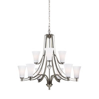 Feiss Evington 9 Light Chandelier in Satin Nickel with White Opal Etched Glass F3076/9SN