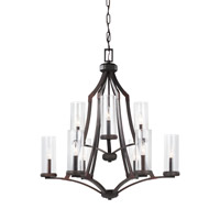 Feiss Jacksboro 9 Light Chandelier in Dark Antique Copper and Antique Copper with Clear Glass F3081/9DAC/AC