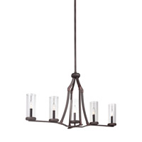 Feiss Jacksboro 5 Light Chandelier in Dark Antique Copper and Antique Copper with Clear Glass F3082/5DAC/AC