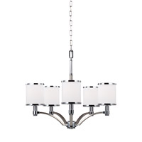 Feiss Prospect Park 5 Light Chandelier in Satin Nickel and Chrome with White Opal Etched Glass F3084/5SN/CH
