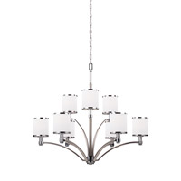 Feiss Prospect Park 9 Light Chandelier in Satin Nickel and Chrome with White Opal Etched Glass F3085/9SN/CH